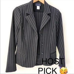Black Striped Blazer and Pants Suit